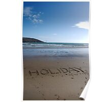 Holiday word in sand on beach, Salcombe, Devon, United Kingdom Poster