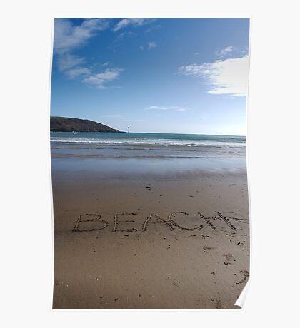Beach word in sand on beach, Salcombe, Devon, United Kingdom Poster