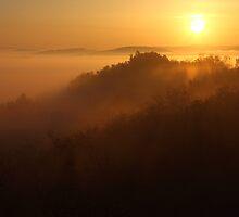Golden Sunrise over the Mountain by kirilart
