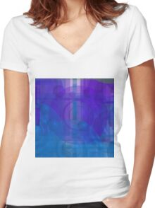 Blue colorful 1 Women's Fitted V-Neck T-Shirt