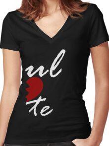 Soul Mate - Left Black Women's Fitted V-Neck T-Shirt