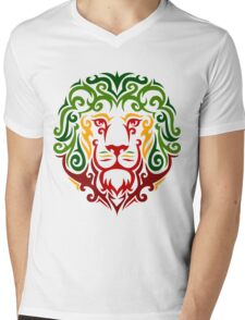 RastaLion Mens V-Neck T-Shirt
