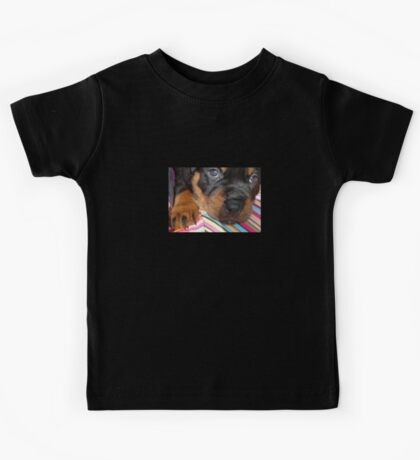 Young Female Rottweiler Making Eye Contact Kids Tee