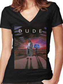 DUDE/DUNE Women's Fitted V-Neck T-Shirt