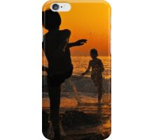 children playing on the Beach at sunset iPhone Case/Skin