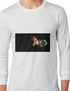 Colourful parrot on black background Long Sleeve T-Shirt