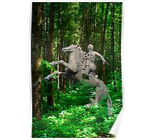 Bronze horseman and horse in a forest Poster