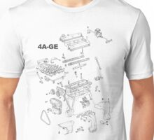 4A-GE Engine Diagram (Bright Colors) Unisex T-Shirt