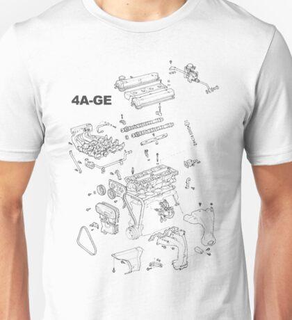 4A-GE Engine Diagram (Bright Colors) Unisex T-Shirt