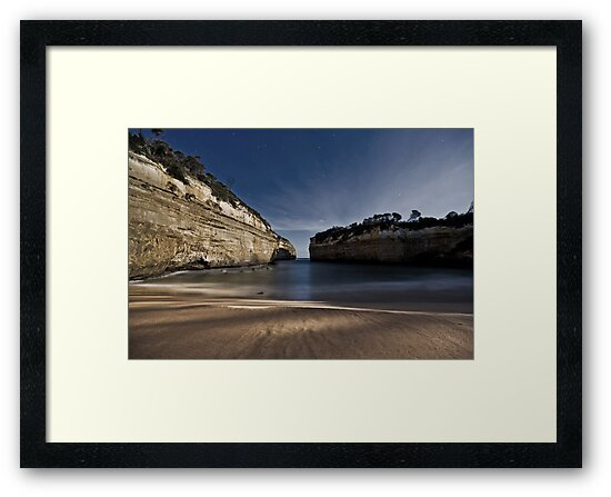 Loch Ard Gorge Beach with Moonlight Shadows by pablosvista2