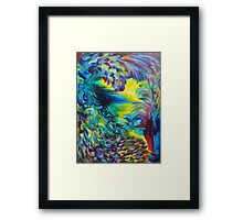 FLIGHT ON TAP - Whimsical Colorful Feathers Fountain Peacock Abstract Acrylic Painting Purple Teal Framed Print