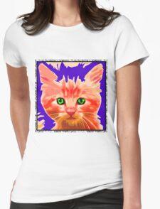 Orange Kitty Womens Fitted T-Shirt
