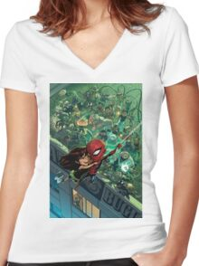 Lil' Spidey Women's Fitted V-Neck T-Shirt