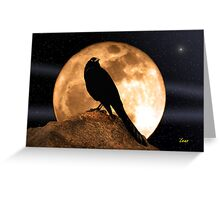 Crow In The Moon Greeting Card