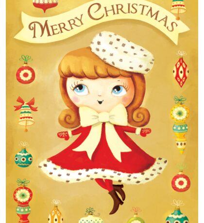 Vintage Christmas Girl Sticker