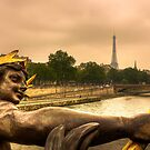 Looking towards the Tour Eiffel from the Ponte Alexandre, Paris by Elana Bailey