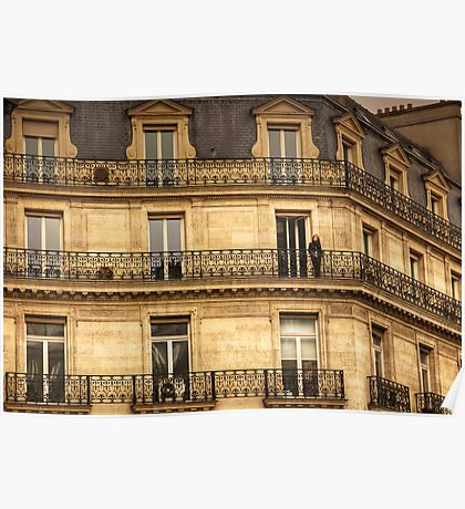 Woman on her balcony in Paris, France Poster