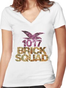 1017 Brick Squad Gucci Mane Lean and Weed  Women's Fitted V-Neck T-Shirt