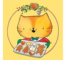 Cute Christmas Cat with Gingerbread Cookies Photographic Print