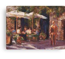 Cafe & Sculpture - San Gimignano, Italy Canvas Print