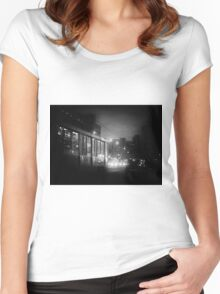 Trolleybus Pinhole Camera Abstract Print Women's Fitted Scoop T-Shirt