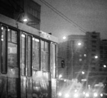 Trolleybus Pinhole Camera Abstract Print Sticker