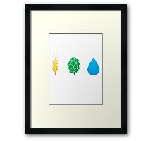 Basic ingredients for beer symbols Framed Print