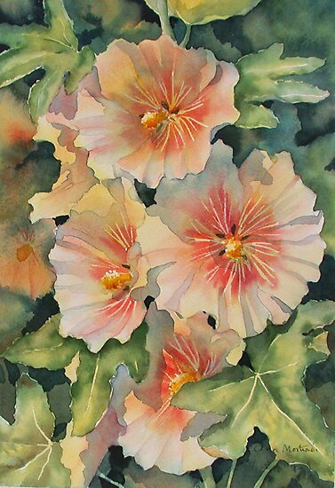 Peachy Hollyhocks by Ann Mortimer