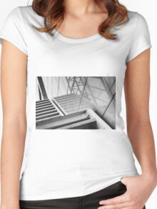 Monochrome Building Abstract 2 Women's Fitted Scoop T-Shirt