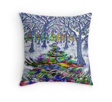 """Christmas Tree Path"" Greeting Card Throw Pillow"
