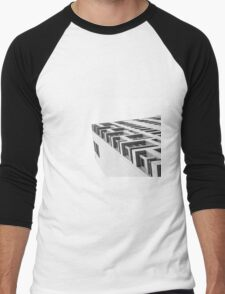 Monochrome Building Abstract 4 Men's Baseball ¾ T-Shirt