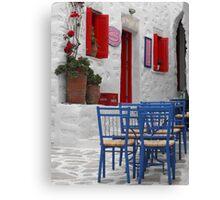 Greek Island Coffee shop Canvas Print