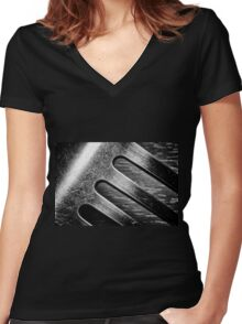 Monochrome Kitchen Fork Abstract Women's Fitted V-Neck T-Shirt