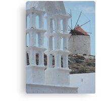 Greek Island Windmill Canvas Print