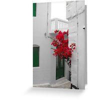 Greek Island street and flowers Greeting Card