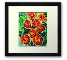 Vibrant Orange Peonies Green Leaves Acrylic Painting Framed Print