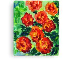 Vibrant Orange Peonies Green Leaves Acrylic Painting Canvas Print
