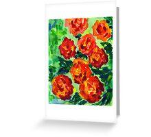 Vibrant Orange Peonies Green Leaves Acrylic Painting Greeting Card