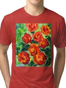 Vibrant Orange Peonies Green Leaves Acrylic Painting Tri-blend T-Shirt