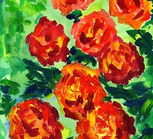 Vibrant Orange Peonies Green Leaves Acrylic Painting by Beverly Claire Kaiya