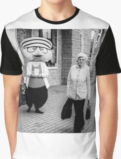 Happy Hamster and Od Woman Monochrome Graphic T-Shirt