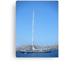 Greek Island Sailboat Canvas Print