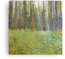 Playing in the grass, watercolor and mixed media on paper mounted on board Canvas Print