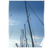 Sailing masts in Blue Sky Poster