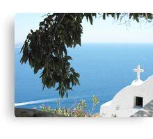 Greek Church by the Ocean Canvas Print