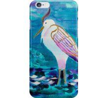 White Heron Egret Lake Bird Portrait Painting iPhone Case/Skin