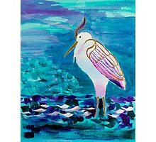 White Heron Egret Lake Bird Portrait Painting Photographic Print