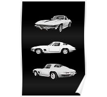 White 1967 Corvette Stingray Poster