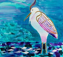 White Heron Egret Lake Bird Portrait Painting by Beverly Claire Kaiya