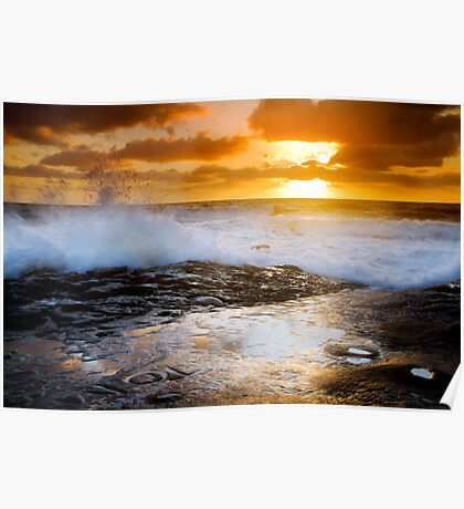 Breaking Waves at Sunset Cliffs San Diego Poster
